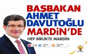 Başbakan Davutoğlu bugün Mardin'de