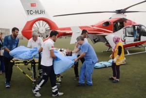 Kriz geçiren hastaya helikopter