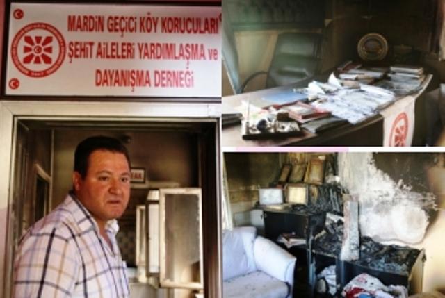 Mardin Köy Korucuları Derneği ateşe verildi
