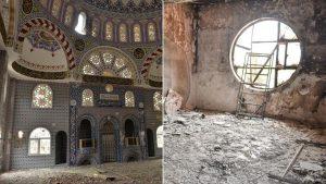 Teröristler cami ve okulları tahrip etti