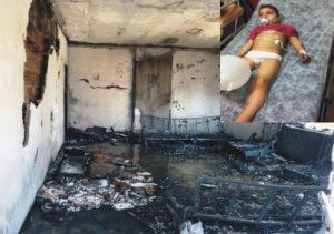 Yangında mutfak dolabına saklanan çocuk itfaiye ekiplerince kurtarıldı