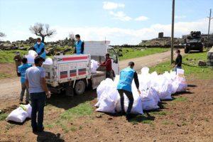 Karantinaya alınan  mahalleye gıda  yardımları ulaştırıldı