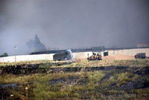 Suriye sınırında çıkan yangına TOMA ile müdahale edildi