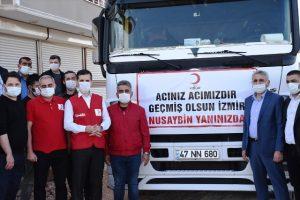 Yardım tırları İzmir'e uğurlandı