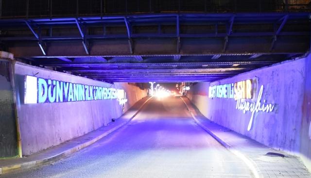 Nusaybin'de alt geçitte  ışıklandırma yapıldı