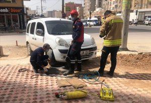Hafif ticari aracın motor kısmına sıkışan kedi ve yavruları kurtarıldı