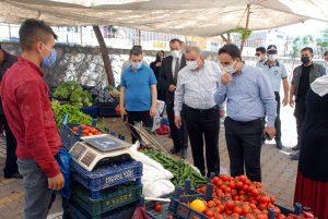 Midyat'ta semt pazarında Kovid-19 denetimi yapıldı